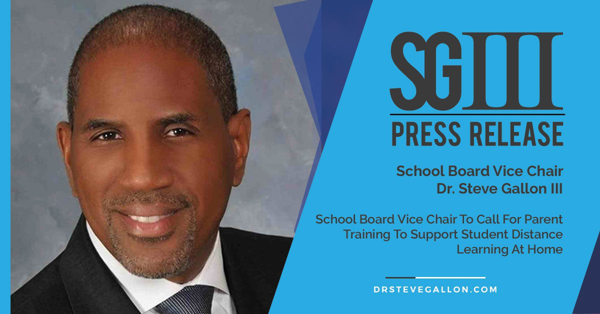 Dr Steve Gallon III Press Release Distance Learning